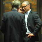 Carl Pistorius talks to Barry Roux, Advocate for Oscar Pistorius. ©Pic Chris Ricco/BackpagePix