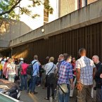 Media queue for access during the second day of Oscar Pistorius bail application. (Image: Chris Ricco/BackpagePix)