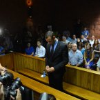 The default position of Pistorius over the past three days is head-bowed, shoulders hunched. ©Pic Chris Ricco/BackpagePix