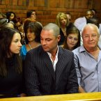 Aimee and Carl Pistorius, brother and sister of Oscar Pistorius and their  Henke Pistorius sit in court again today. ©Pic Chris Ricco/BackpagePix