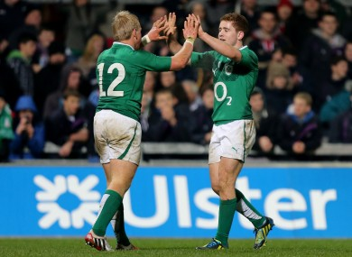 Paddy Jackson celebrates with Luke Marshall.