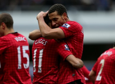 Manchester United's Ryan Giggs (left) celebrates with team-mate Rio Ferdinand after scoring his side's second goal of the game.