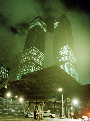 File photo of Feb 26, 1993, the twin towers of the World Trade Center in New York City are shown in the aftermath of an explosion earlier that day. 