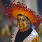 A reveler performs during Las Llamadas or parade of The Calls in Montevideo, Uruguay. A feature of the Montevideo Carnival, Candombe is an AfroUruguayan rhythmic style music, which is based on the sound of three types of tambores or drums: its roots can be traced back to the 1700s when African slaves were brought to Uruguay. (AP Photo/Matilde Campodonico)