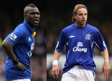 Drenthe and Van der Meyde (right) during their Everton days.