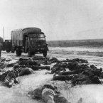 The frozen bodies of dead German soldiers lie sprawled across a roadside southwest from Stalingrad, on April 14, 1943. (AP Photo)