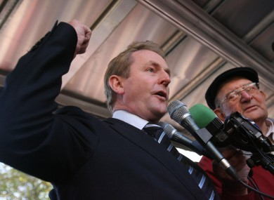 Enda Kenny attends a protest in 2008 against plans to remove automatic entitlement to a medical card for the over-70s. Legislation changing the income thresholds for medical cards for over-70s will be introduced to the Dáil today.