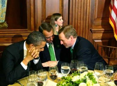 Taoiseach Enda Kenny speaks to Barack Obama and House Speaker, John Boehner.