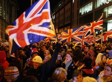 File photo of a union flag protest in Belfast in December. Today demonstrators did not try to carry out an authorised march from City Hall to the city centre.