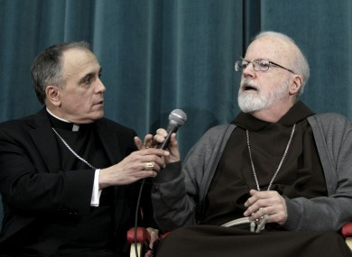 Texan Cardinal Daniel Nicholas DiNardo, and Sean Patrick O'Malley of Boston, speak at yesterday's press briefing.
