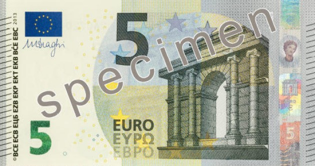 This is the new €5 banknote which enters circulation today