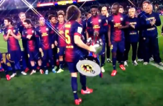Alex Song got it embarrassingly wrong during Barcelona's title celebrations