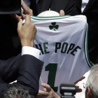 The Pope is given personalised Boston Celtics, Roma and Lazio jerseys